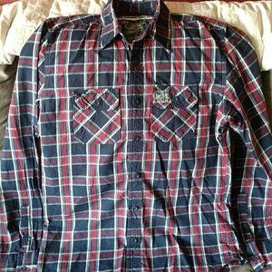 Men's sz XL Super dry red white blue plaid shirt